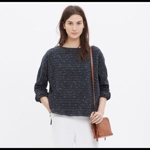 Madewell boatneck cotton navy stripe top shirt xs